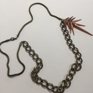 Chain spike two tone necklace